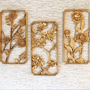 Syroco 60's Gold Floral Wall Plaque Art Boho Decor